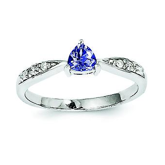 Sterling Silver Tanzanite and Diamond Ring - Ring Size: 6 to 8