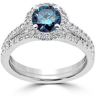 1 1/2 ct голубой бриллиант Halo участия обручальное кольцо набор 14k белое золото