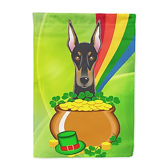 Carolines Treasures  BB1989CHF Doberman St. Patrick's Day Flag Canvas House Size