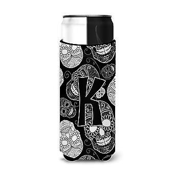 Letter K Day of the Dead Skulls Black Ultra Beverage Insulators for slim cans