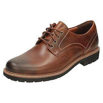 Mens Clarks смарт зашнуровать обувь Batcombe Холл - Темный загар кожа - Великобритания размер 10G - ЕС размер 44,5 - Размер США 11M