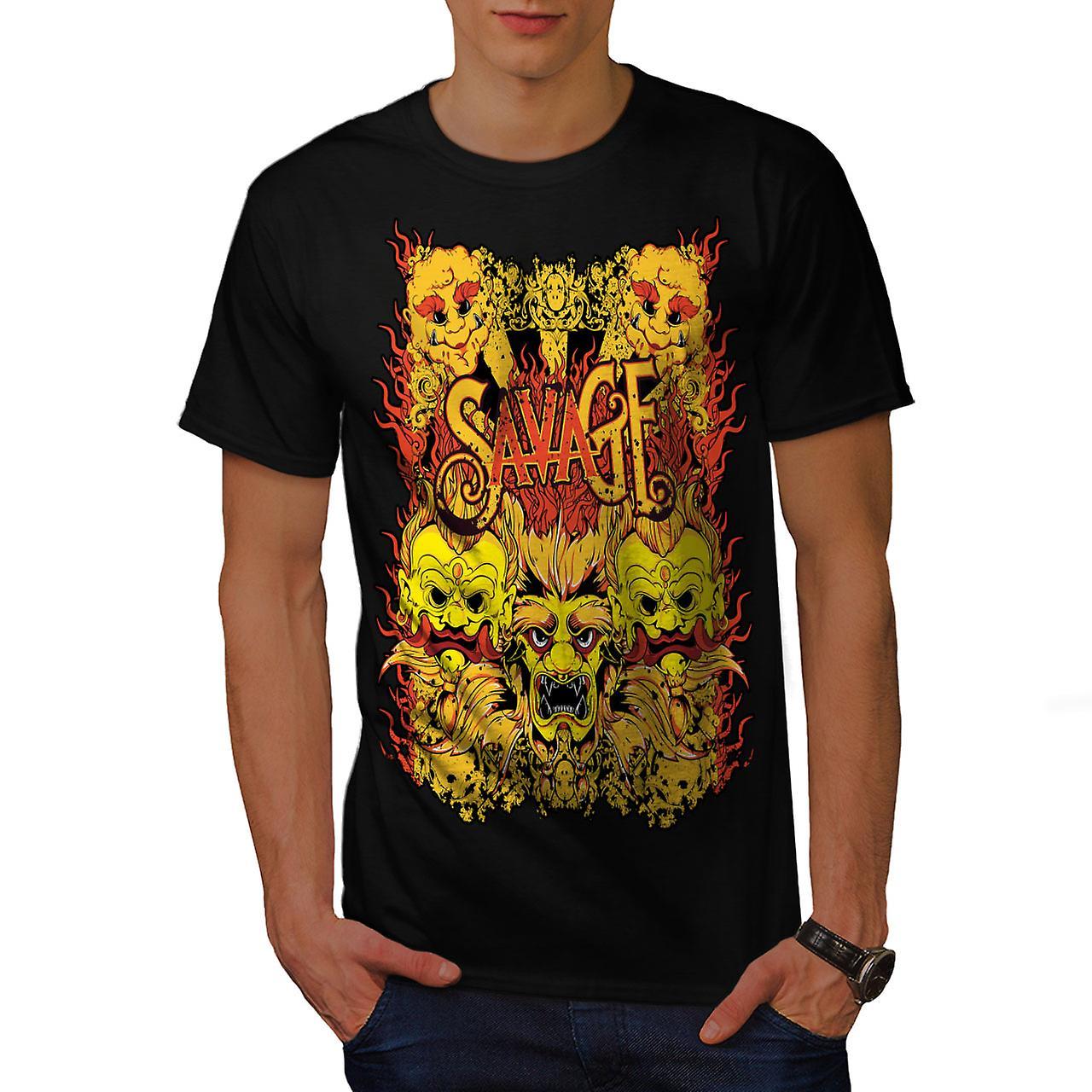 Savage Devil Japan Horror Men Black T-shirt | Wellcoda