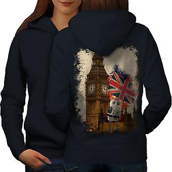 Big Ben Flag London UK Women NavyHoodie Back | Wellcoda