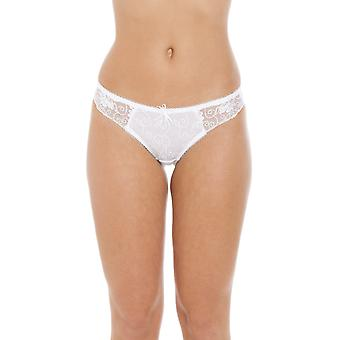 Camille Womens dames Florence pure Mesh Lace Thong In witte grootte 10-18 geborduurd