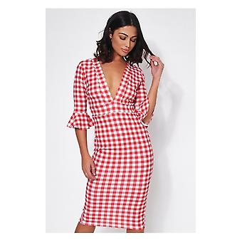 The Fashion Bible Liv Red & White Gingham Midi Dress