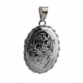 Srebrny 29x22mm ręcznie grawerowane splatanej krawędzi owalny medalion