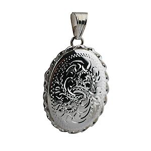 Silver 29x22mm hand engraved twisted wire edge oval Locket