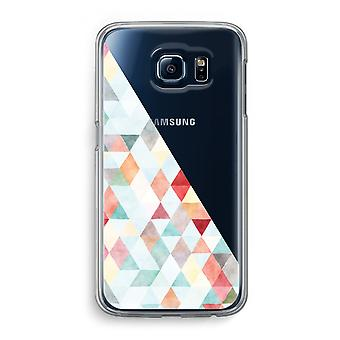 Samsung Galaxy S6 Transparent Case - Coloured triangles pastel