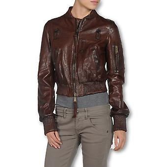 Ladies Burgundy Lavish Leather Jacket