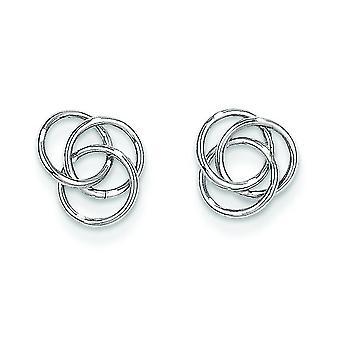 14 k White Gold gepolijste Post oorbellen liefde knoop oorbellen -.5 gram - 3/8 Inch diameter