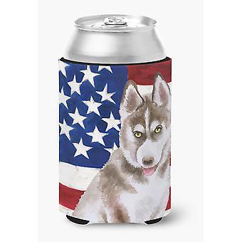 Carolines tesoros BB9696CC siberiano Husky gris patriótica se puede o botella Hugger