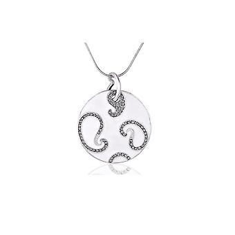 White items and Rhodium plate Swarovski Crystal Circle Pendant