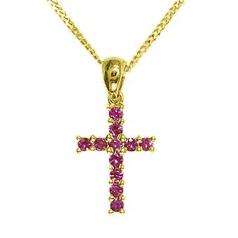 Shipton and Co Ladies Shipton And Co 9ct Yellow Gold Cross Ruby Pendant Including A 16 9ct Chain PYD029RU