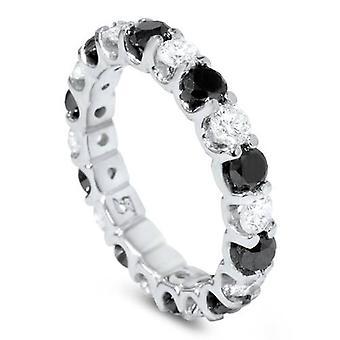 2ct zwart & White Diamond Eternity Ring 14K White Gold U vorm van instelling