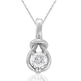 1 / 3ct diamante Real Solitaire Everlong nudo redondo colgante 14K oro blanco quilates