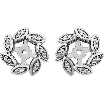 14kt biały 1/10 CTW diament kolczyk kurtki pasuje do 4 mm kamienie