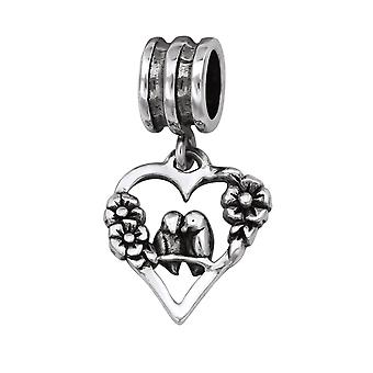 Herz - 925 Sterling Silber Plain Beads - W29552x