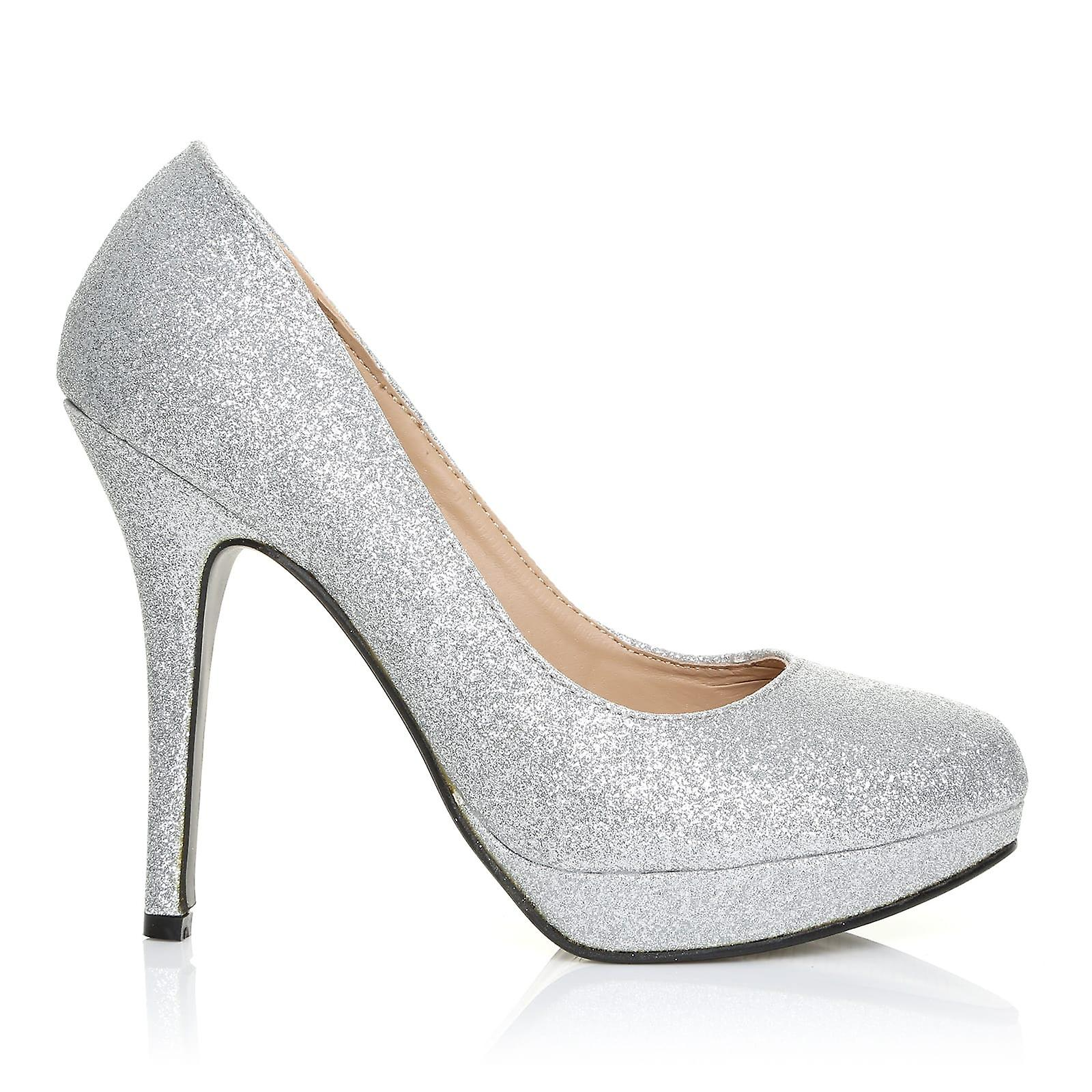 EVE Silver Glitter Stiletto Shoes High Heel Platform Court Shoes Stiletto 500574