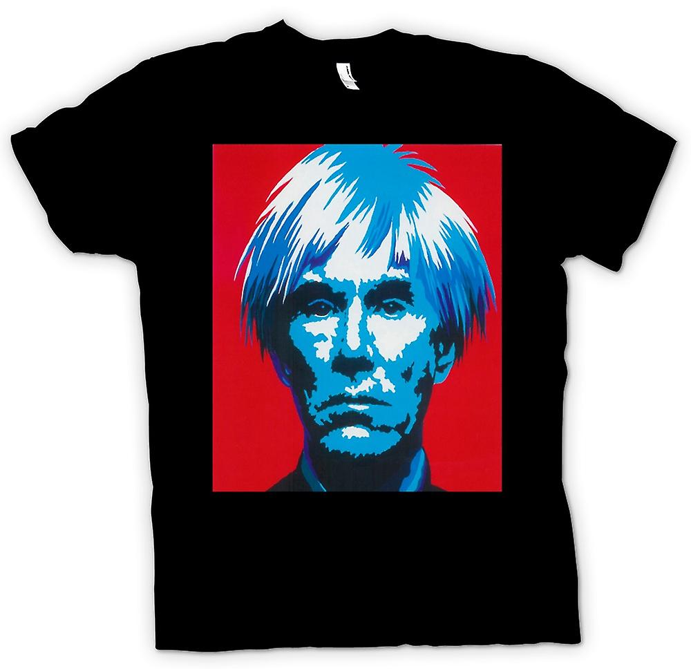 Mens t-skjorte-Andy Warhol blå ansikt - Pop Art