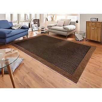 Design carpet flat weave simple with dark brown trim