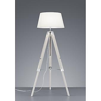 Trio verlichting statief moderne witte natuurlijke houten vloerlamp