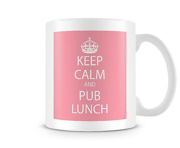 Hålla lugn och Pub Lunch tryckta mugg