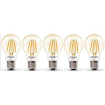 5 X Energizer LED Filament GLS Light Bulb Lamp Vintage ES E27 Clear 4.2W = 40W ES E27 Cap [Energy Class A+]