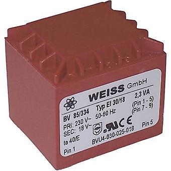 PCB mount transformer 1 x 230 V 1 x 15 V AC 2.30 VA 153 mA 85/333 Weiss Elektrotechnik
