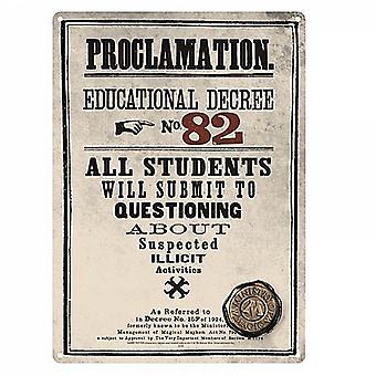 Harry Potter Proclamation petit acier signer 210 X 150 Mm