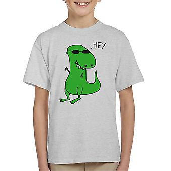 Trex Saying Hey Paint Art Kid's T-Shirt