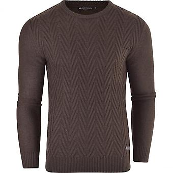 Brave Soul Mens Brave Soul High Quality Chevron Jumper Pullover Winter Jacquard Sweater