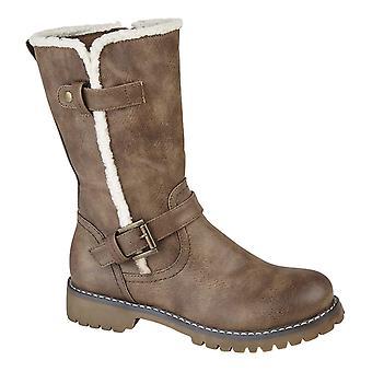 Ladies Womens Inside Zip Faux Fur Trim Buckle Mid Calf Boots Shoes