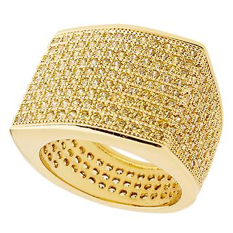 Iced out bling micro pave ring - BLOCK gold