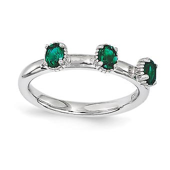 2.5mm Sterling Silver Polished Prong set Rhodium-plated Stackable Expressions Created Emerald Three Stone Ring - Ring Si