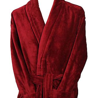Bown of London Baron Cotton Velour Dressing Gown - Claret