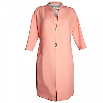 Paola Collection 3/4 Sleeve Mandarin Collar Dress Coat