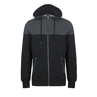 Merc THAMES, men's cotton colour block hoody with zip-up fastening, drawstrings and zip pockets