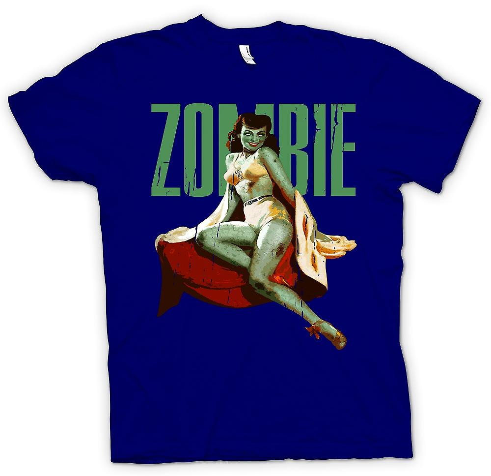 Mens T-shirt - Zombie Vintage Pin Up - Dame verte