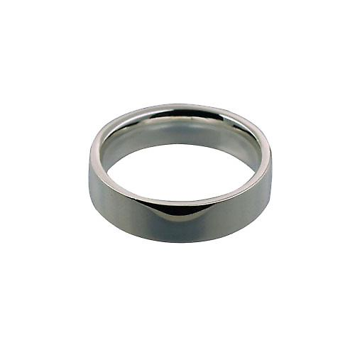 9ct White Gold 6mm plain Flat Court shaped Wedding Ring