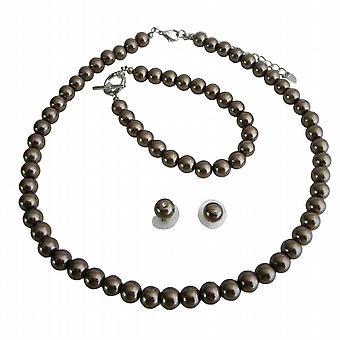 Wedding brunt perler komplett sett eksklusive Hancfrafted rimelig smykker
