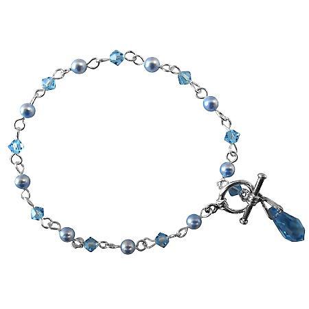 Blue Jewelry Swarovski Aquamarine Teardrop Charm Dangling Bracelet