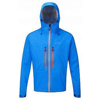 Trail Tempest Waterproof Running Jacket Electric Blue/Orange Mens