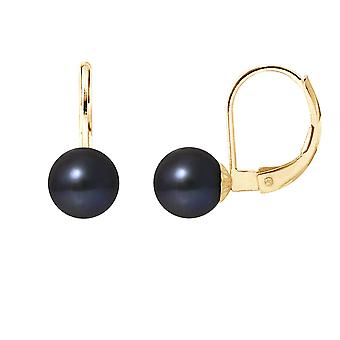 Earrings ears sleepers pearls of Culture black and yellow gold 375/1000