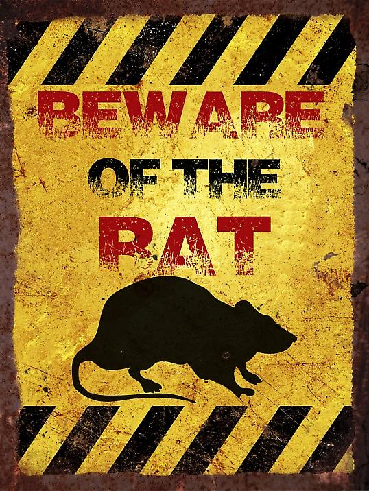 Vintage Metal Wall Sign - Beware of the rat