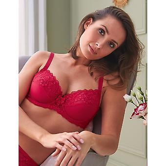 Guy de France 15137-3 Women's Strawberry Red Embroidered Underwired Full Cup Bra