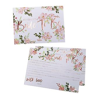 Advice Cards - Bride to be - Floral Hen Party x 10 Rose Gold