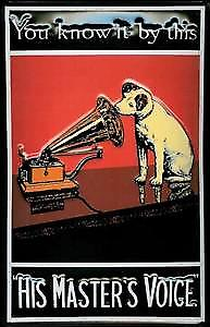 His Masters Voice Nipper ''You Know It By This'' embossed metal sign  (hi 2030)
