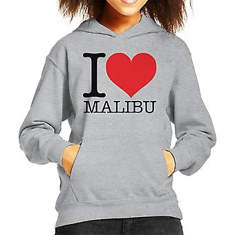 I Love Malibu Kid's Hooded Sweatshirt