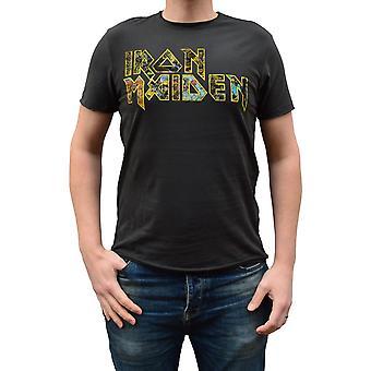 Amplified Iron Maiden Eddies Logo Charcoal Crew Neck T-Shirt XXL