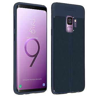 Flexible shock absorbing faux leather case, for Samsung Galaxy S9 - Dark blue